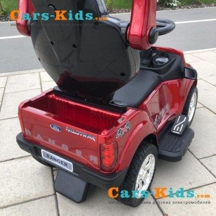 Электромобиль - каталка Ford Ranger DK-P01-P красный (2 в 1, колеса резина, кресло кожа свет фар, музыка)